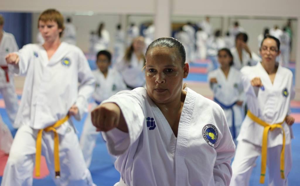 Women training in TKD